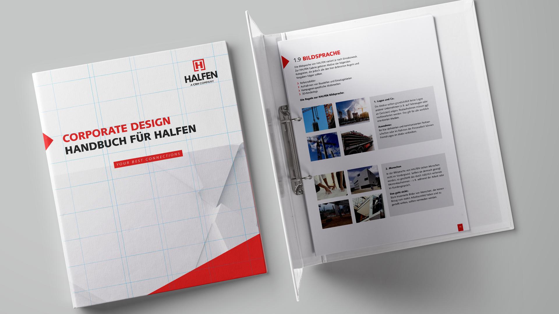 Corporate Design Guide von HALFEN als Handbuch