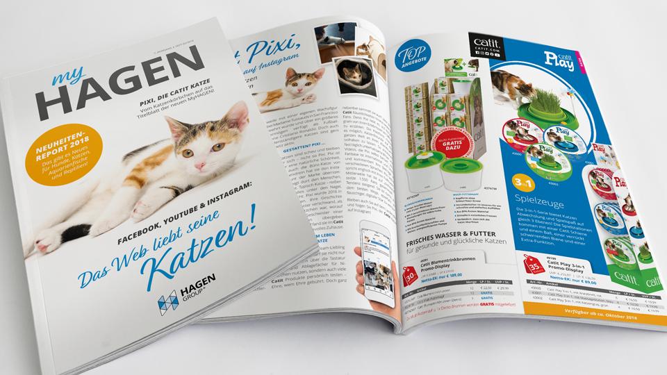 Kundenzeitschrift myHAGEN mit Redaktion links und Angebot rechts