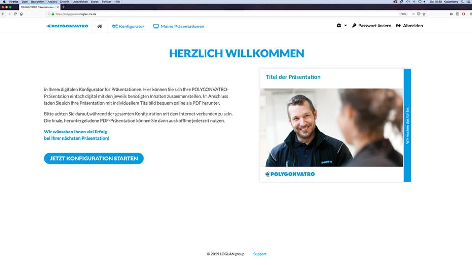 Startseite im Konfigurator für Präsentationen