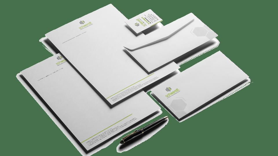 Die Geschäftsausstattung ist oft der erste Schritt zur praktischen Umsetzung des Corporate Designs.