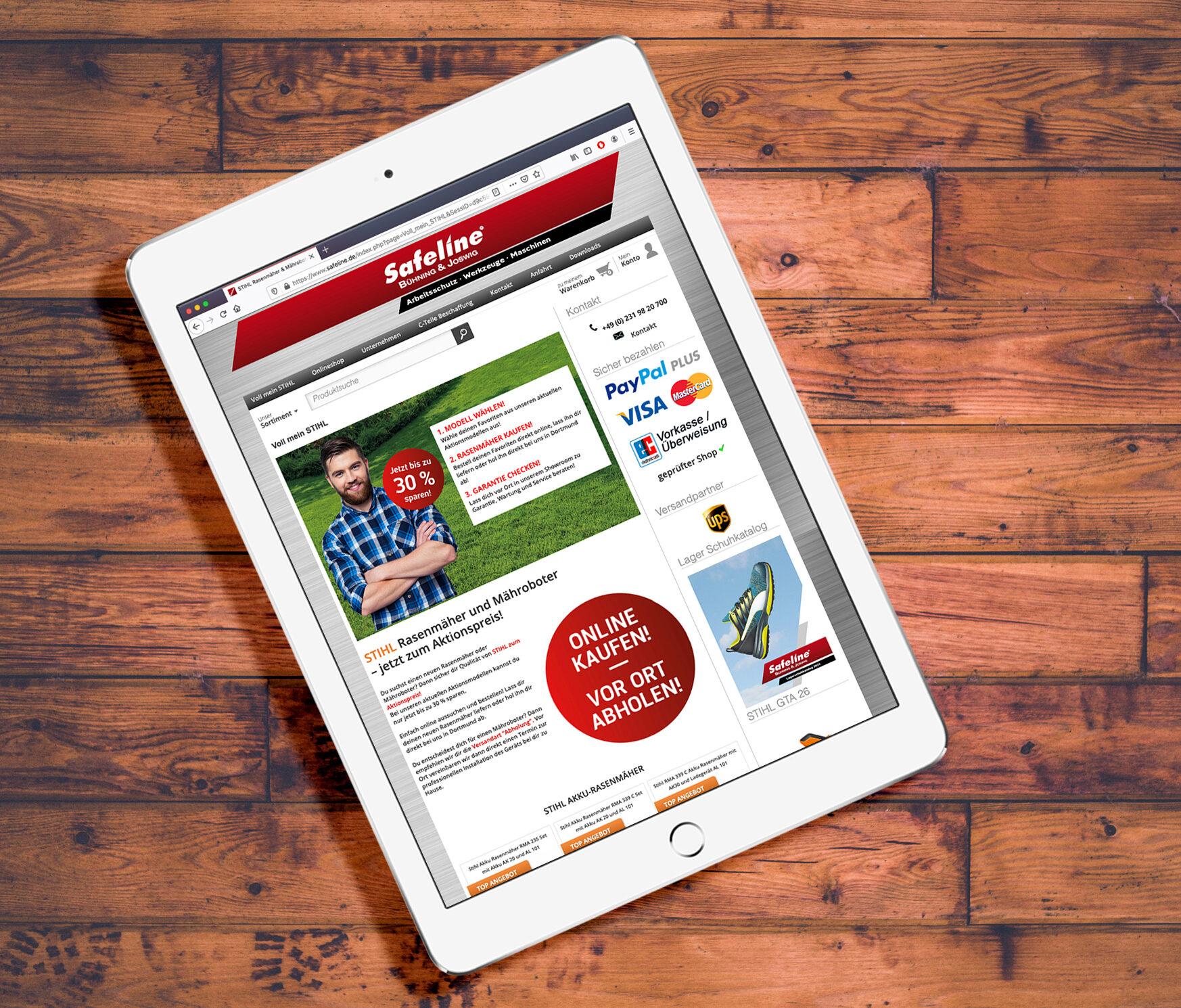 Landingpage zur Mailing Aktion von Safeline