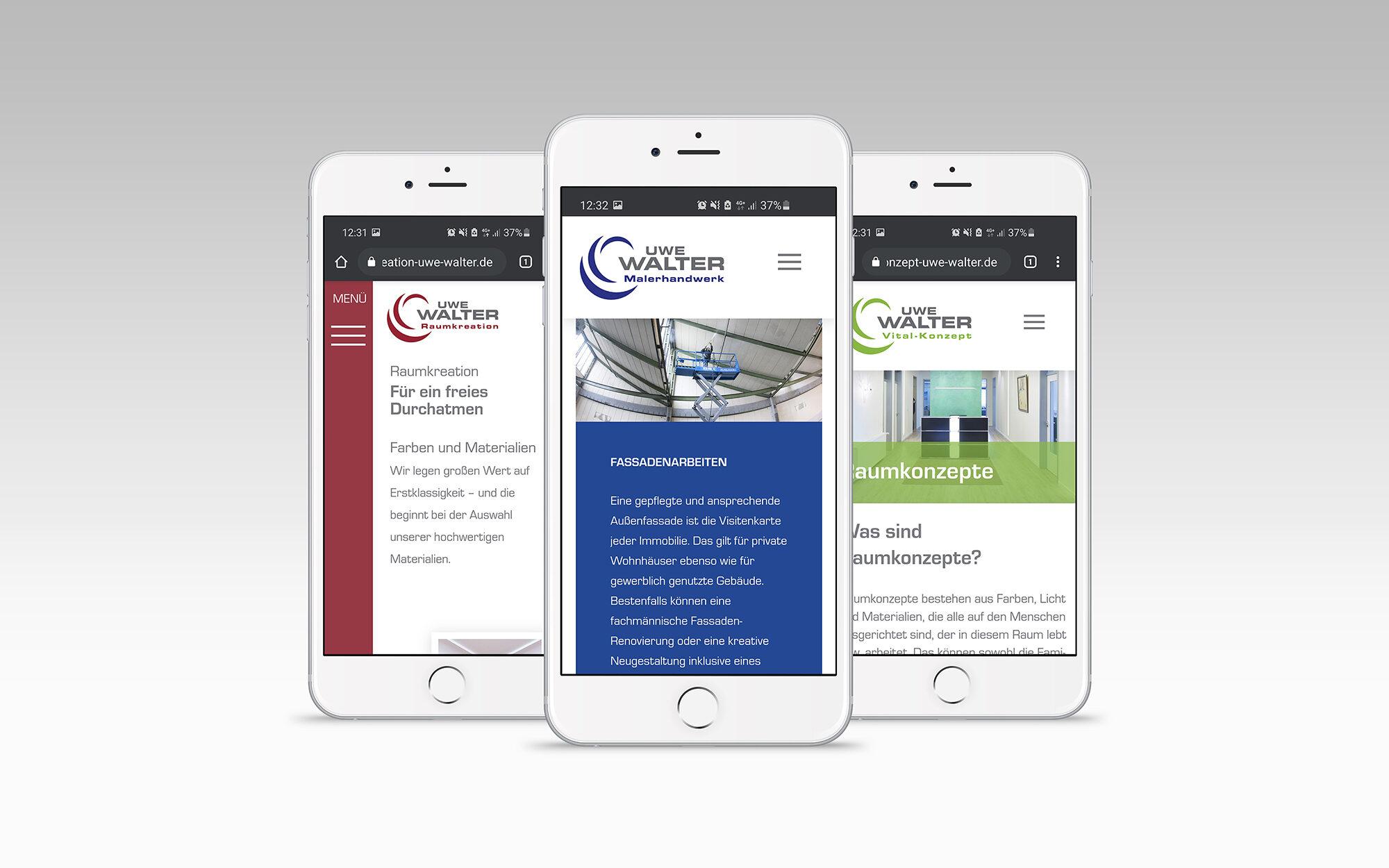 Website Relaunch: Die drei Websites der Malerbetriebe auf dem Smartphone